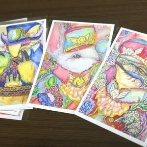 アナログ作品ポストカード「お洒落アニマル3種」