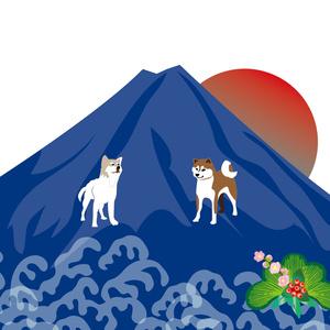 柴犬と青い富士山と日の出の和風ポストカード