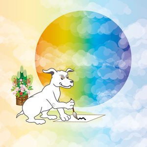 書き初めをする犬の和風ポストカード