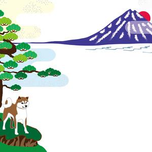富士山と柴犬と松の木の年賀状テンプレート