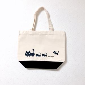 黒ネコ ミニトートバッグ(底ブラック)