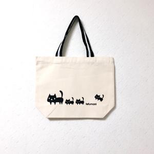 黒ネコ ミニトートバッグ(持ち手ブラック)