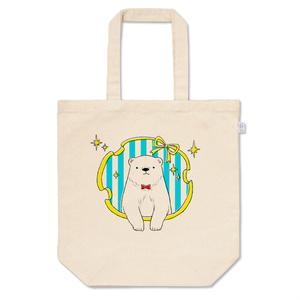 おめかしシロクマのトートバッグ(水色)