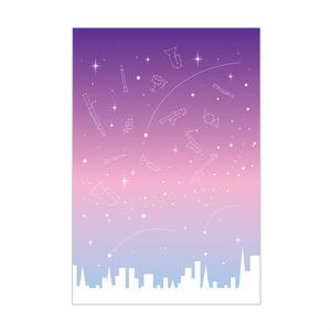 楽器の星空ポストカード むらさき