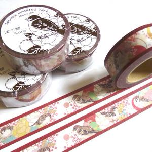 マスキングテープ「雀と牡丹」