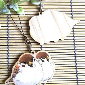 雀の木製ストラップ(2羽)