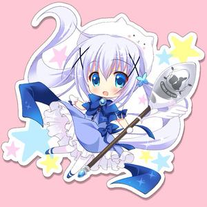 ごちうさ・魔法少女チノ★BIGアクリルキーホルダー &キラキラポストカードセット