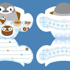 コーヒータイムのペンギンメッセージカードセット
