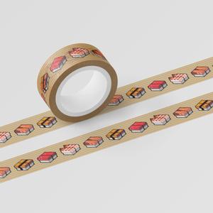 マスキングテープ 「SUSHI CUBE - 人気4種(マグロ、蒸しエビ、サーモン、玉子)」