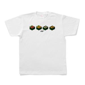 Tシャツ 「SUSHI CUBE [type02] 軍艦4種(イクラ、ウニ、ネギトロ、納豆)」