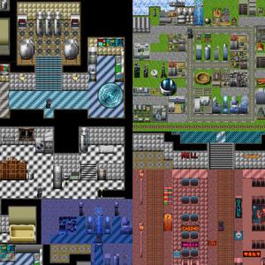 【体験版】現代・SF近未来~現代 タイルセット・マップチップ素材 RPGツクール、ウディタ用