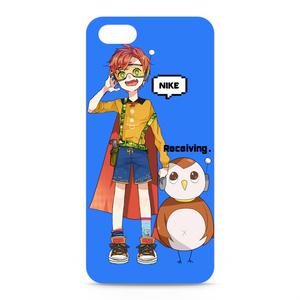 iPhone5&5Sケース にけ&ふくろーぼ ブルー