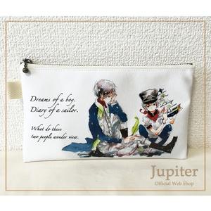 【合皮・平ポーチ】航海士の日記