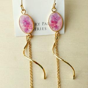 紫陽花ロングピアス・ピンク