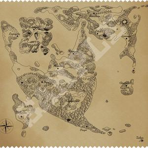 DQ2古地図風マイクロファイバークロス