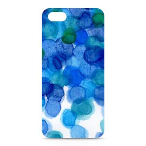 水彩iPhoneケース 青色みずたま