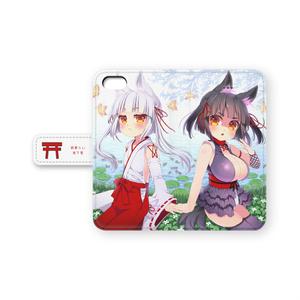 のじゃロリババア狐さま(シロ&クロ)手帳型iPhoneケース