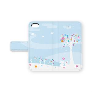 うさぎカップル手帳型iPhoneケース ブルー