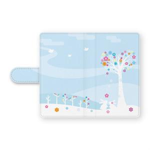 うさぎカップル手帳型Androidケース ブルー