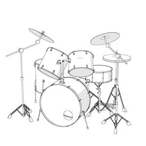【クリップスタジオ】ドラムセット3D素材