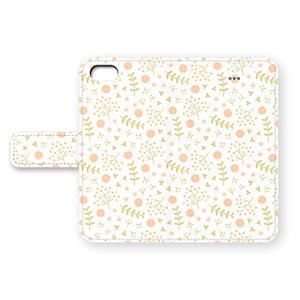 草花のiPhoneカバー(グリーン×ピンク)