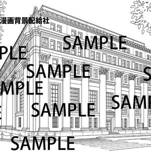 漫画背景素材「クラシックなビル(銀行の建物)」