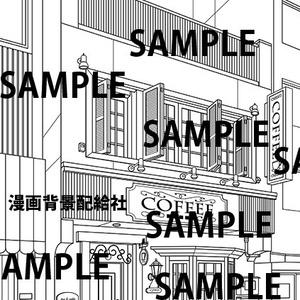 漫画背景素材「喫茶店」