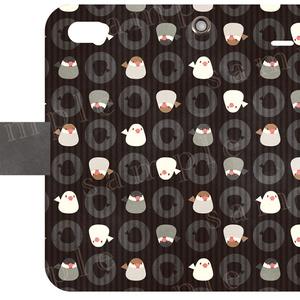 iPhone5ケース*文鳥トリオ黒ver-手帳タイプ*