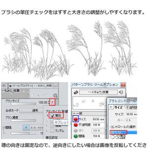 ススキブラシ4種・コミスタクリスタ兼用素材