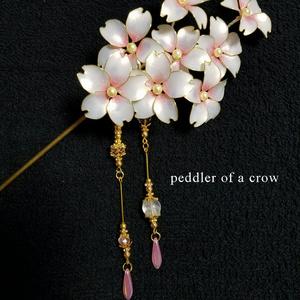 桜の簪(かんざし)白×桃色
