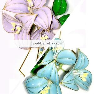 2種・薄紫/水色 パステルカラーフラワーミニクリップ 各1個