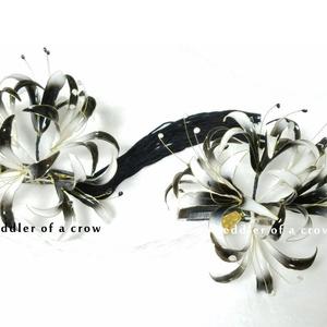 彼岸花・白と黒 ヘアクリップ