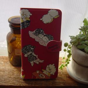 おねむ羊ちゃんの手帳型スマホケース【赤】