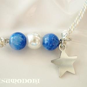 カラ松イメージ「青い石とパールの組み紐ブレスレット」