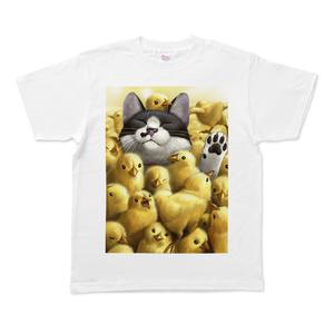 Tシャツ - M - 白(ひよこと猫)