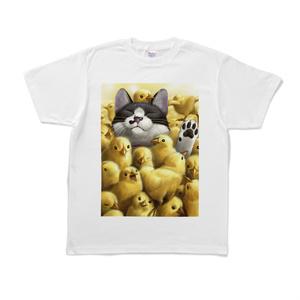Tシャツ - L - 白(ひよこと猫)