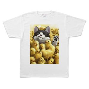 Tシャツ - XL - 白(ひよこと猫)