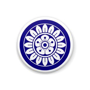 イーピン缶バッジ(白×青)