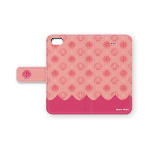 手帳型iphoneケース【モフモフホタテ柄:ピンク】