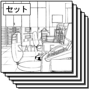 オフィス街の背景_セット5(室内)