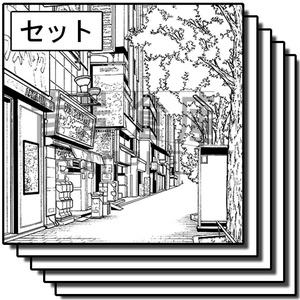 繁華街の背景_セット4(街並)