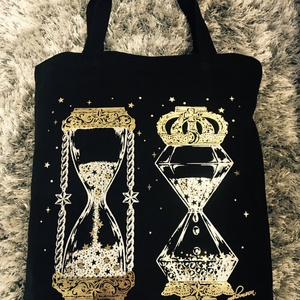 Galaxy hourglass 箔プリント トートバッグ