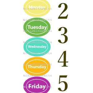 *・WEB素材イラスト画像・*【デジコン】暦こよみカレンダー1週間weekウィークpopカラフル