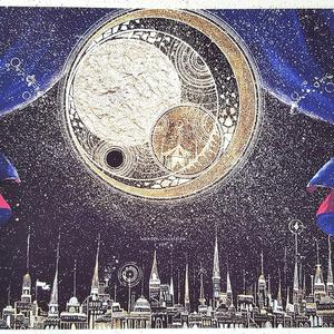 A4サイズ 月と光のカーニバルイラスト【2枚セット】