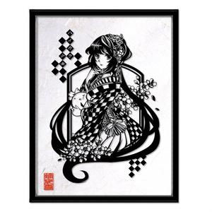 灯夜雪「ハイカラ少女」 切り絵アート 絵画 イラスト 額縁付き