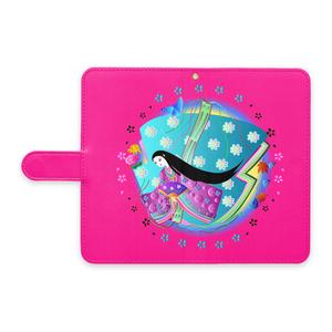 十二単の姫と花(手帳型Androidケース - L - ストラップ穴 あり)