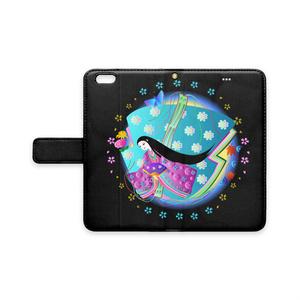 十二単の姫と花 (手帳型iPhoneケース - iPhone6 Plus - ストラップ穴 あり)