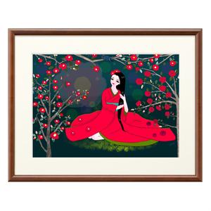 赤い椿の花の精