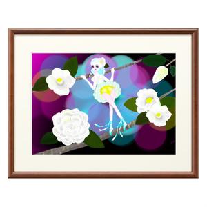 白い椿の花の精