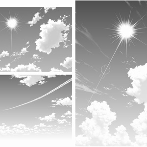 雲ブラシ11種&トーン・グレー画像・レイヤーセット各53枚+月/太陽素材【17.6.2更新】